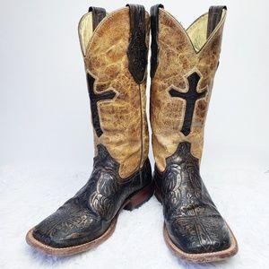 Ferrini Western Square Toe Cross Cowboy Boots